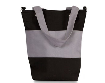 Grey and Black Canvas Tote bag