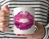 Lipstick Coffee Mugs Pretty Mug Cute Mugs Coffee Mugs for Her Unique Coffee Mugs Mugs for Women Cute Gifts for Girls Makeup Artist Gifts a14