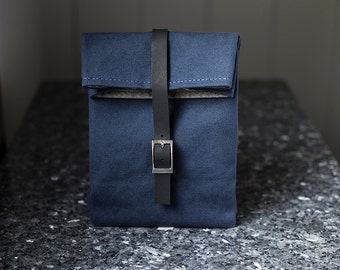 Navy Blue Lunch Bag with Leather Strap & Silver Buckle - Cotton Canvas Food Bag - Men's Bag - Women's Bag - Lunch Box