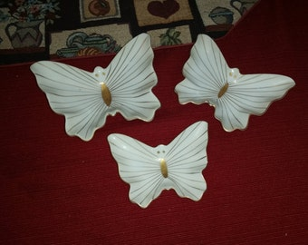 Vintage white and gold porcelain butterfly stackable dishes