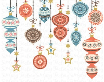 Christmas Clip Art, Vintage Ornament Christmas, Retro Vintage style, Seasons Greetings, Christmas Decoration. Instant Download Cts 004