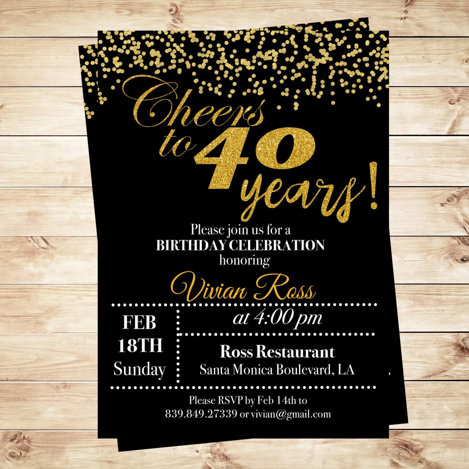 Cheers To 40 Years Birthday Printable Invitation 40th