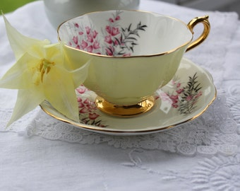 Royal Albert: pale yellow Cup and saucer, Pixie Pink