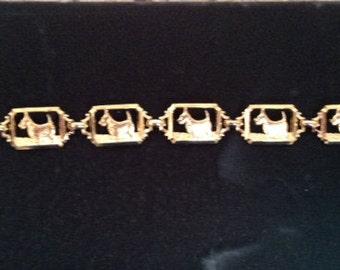 Vintage Scotty Scottie Dog Scottish Terrier Goldtplated Bracelet 1960's Unused