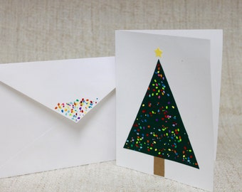 Colorful, Funky, Modern Christmas Tree with Ornaments on a Blank Greeting or Christmas Card with Matching Envelope