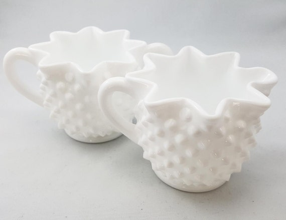 Fenton Hobnail Milk Glass Cream & Sugar Set