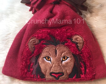 Embroidered lion beanie