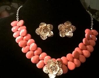 Flower Necklace/Earring set