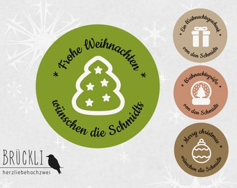 24 personalized Christmas stickers / greetings / Weihnachstwünsche / gift stickers