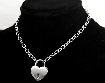 Chain Link Choker Necklace, Stainless Steel Chain w/ Locking Heart Lock, Made to Order Collar, Day Collar, BDSM Collar,  BDSM Choker