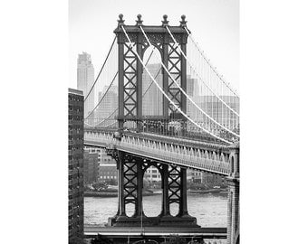 Black and White Fine Art Photography Print - Brooklyn Bridge (Manhattan, New York, USA, Large Wall Print for Home Decor, postcard)