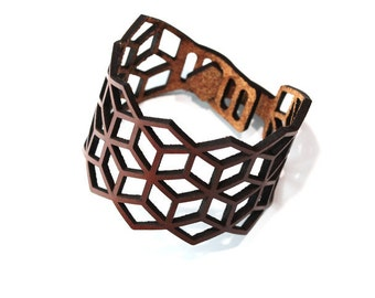 "Leather armwrist ""Cube No1"""