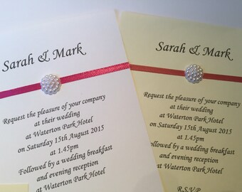 50 x Handmade Personalised Wedding/Evening invites free mini rsvp ribbon and pearl