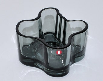 Iittala Aalto Savoy Smoked Gray Glass Votive Candle Holder