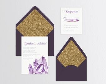 Watercolor Crystals Wedding Suite - Set of 25 or Digital