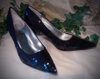 Black Formal High Heeled Pumps Covered in Black Iridescent Sequins US size 6M