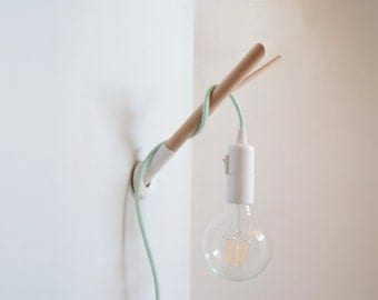 Handmade Wooden Lamp Hook with a Colored Fabric Cable, Wall Lamp, Wooden Wall Sconce, Hanging Light, Minimal Wall Lights, Bedside Lamp