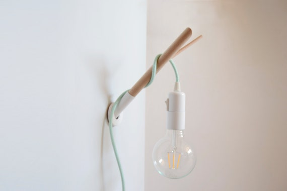 Wall Hooks For Hanging Lights : Handmade Wooden Lamp Hook with a Colored Fabric Cable Wall