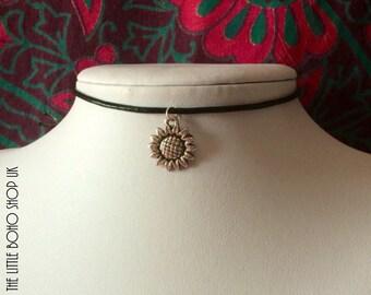 Silver Sunflower Choker Necklace | 90s Grunge Choker | Choker | Necklace | Tumblr Jewelry | Hippie Jewelry | Black Choker | Womens Jewellery