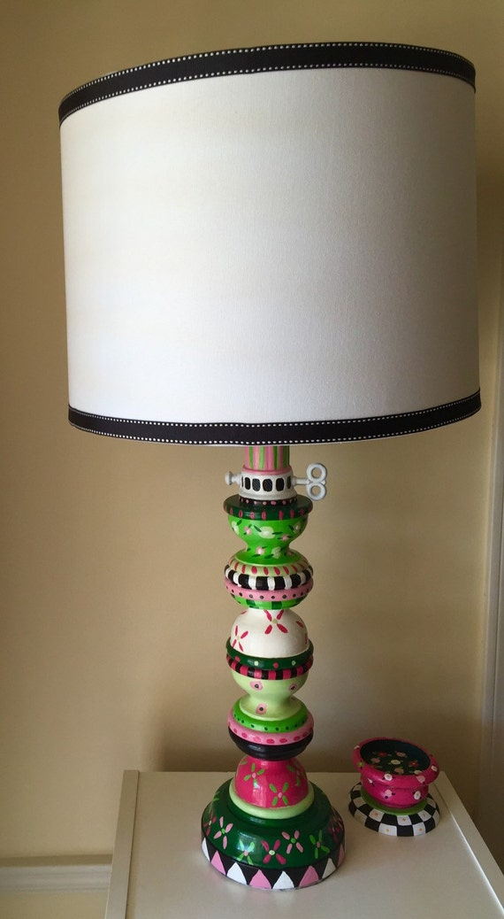 Mackenzie Childs Inspired Hand Painted Pink And Green Floral