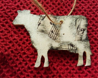 Wooden  moosical Cow ornament