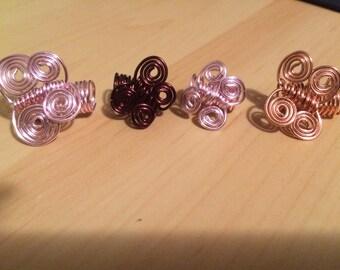 Pink butterfly dreadlock & braid hair jewelry