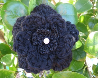 Hand crocheted layered flower brooch in black