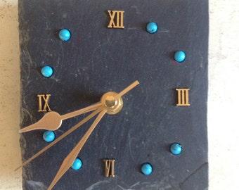 Scottish slate electric wall clock with inlaid turqoise gemstones