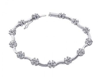 1.75 Carat Diamond Cluster Flower Bracelet 14K White Gold