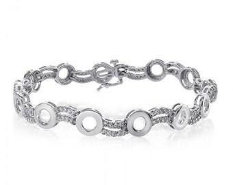 1.20 Carat Diamond O-Shape Link 14K White Gold Bracelet