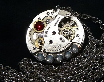 Necklace, Steampunk-style, Swarovski crystals, lobster claw clasp, free U.S. shipping