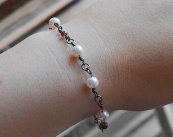 Rose Pearl Beaded & Woven Bracelet