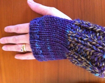 Grape & Tweed Fingerless Gloves