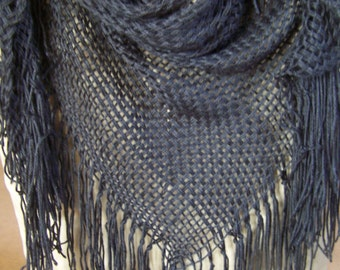 All Black Shawl/Scarf, Hand-woven, 6' Tri-loom