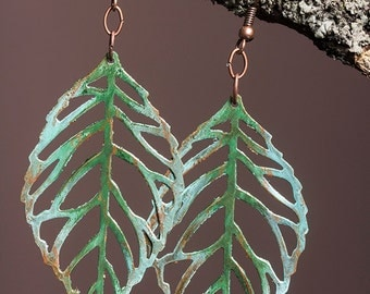 Fiiligree brass leaf earrings with green patina