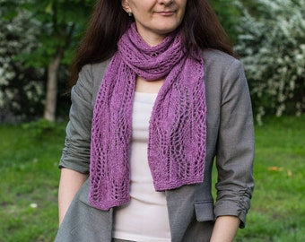 Womens pink scarf , feminine lace shawl , Colour Orchid flowers , pink feminine scarf, knitted scarf