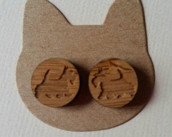 Handmade wooden dog stud earrings 12mm