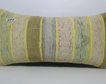Kilim Lumbar Pillow Case Striped Kilim Pillow 12x24 Multi Color kilim Pillow 12x24 Decorative Kilim Pillow, Kilim Cushion Cover SP3060-275