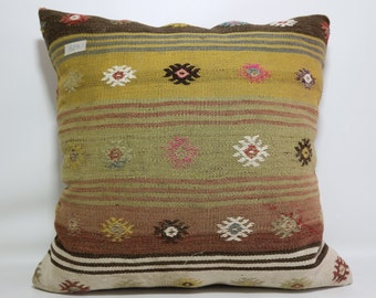 Kilim Cushion Cover Embroidered Kilim Pillow 24x24 Large Floor Pillow Sofa Pillow Multicolor Kilim Pillow Boho Pillow Colorful SP6060-519