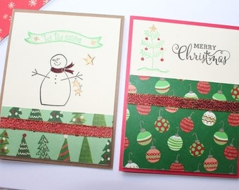 Set of 8 Christmas Cards - Handmade