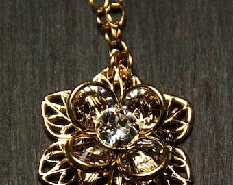 Swaroavski Gold Flower with Swarovski Crystal Pendant Necklace