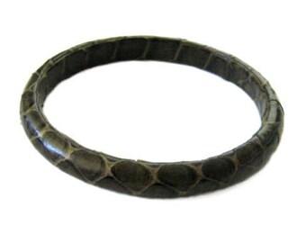 Vintage 80's Snakeskin Bangle Bracelet - Olive Green