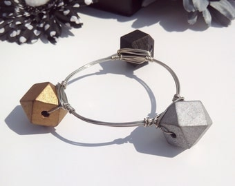 3D Gold, Silver, and Black Wood Bead Wire Wrapped Bangle Bracelet