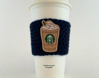 Starbucks Frappuccino Coffee Cup Cozy / Crochet Coffee Sleeve / Reusable Cozie / Customizable