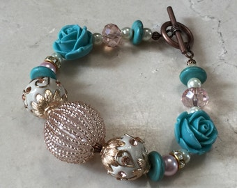 Beautiful Turquoise Roses and Pink Gold Bracelet