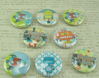 Button Magnets, Robot Magnets, Robot Themed Magnets, Refrigerator Magnets, Kids Magnets, Office Magnets, Magnet, Spaceship Magnets