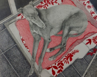POSTER PRINT A1 SIZE,Greyhound Art Print,Modern Wall Art,Original Drawing by Wendy Jane Sheppard,Title;Feeling Loved and Being Home