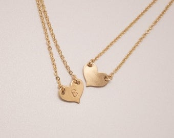 Valentines Necklace, Personalized Heart Necklace, Gold fill, Sterling Silver Heart Necklace, stamped Necklace, Initial Necklace