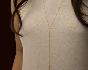 Lariat necklace Gold filled