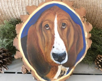 Basset Hound Painting on Wood - Basset Hound Art - Basset Hound Wood Painting - Pet Portrait - Rustic Dog Art - Dog Portrait - Basset Art